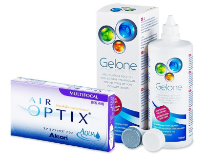 Air Optix Aqua Multifocal (6 Lentillas) + Líquido Gelone 360 ml - Diseño antiguo