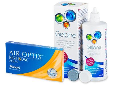 Air Optix Night and Day Aqua (6lentillas) +Líquido Gelone360ml - Pack ahorro