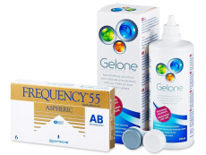 Packs ahorro de lentillas + líquido - Frequency 55 Aspheric (6 Lentillas) + LíquidoGelone 360 ml