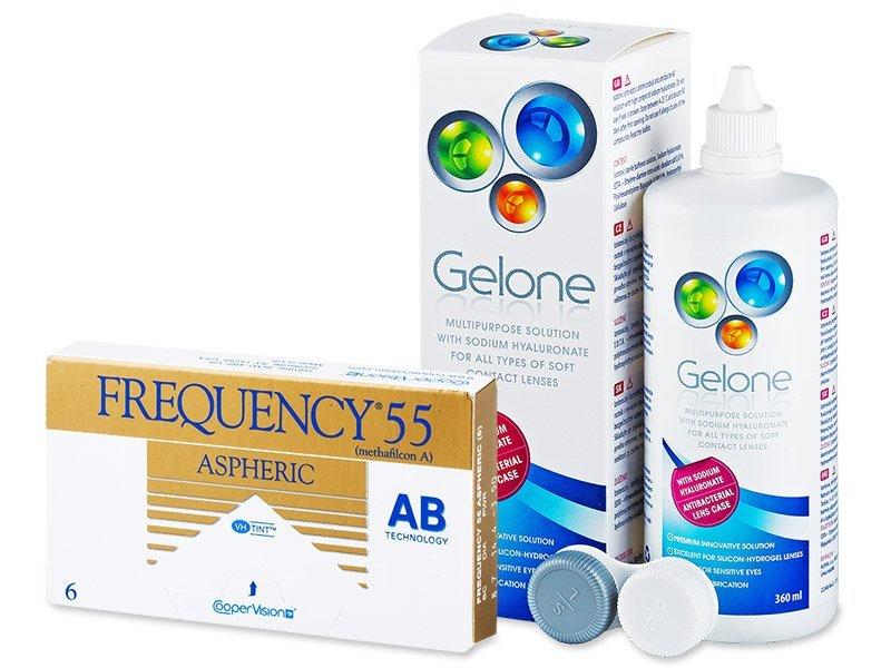 Frequency 55 Aspheric (6 Lentillas) + LíquidoGelone 360 ml - Pack ahorro