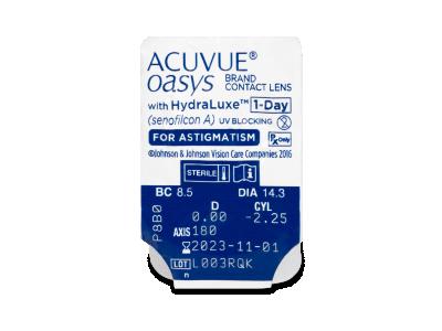 Acuvue Oasys 1-Day with HydraLuxe for Astigmatism (30 lentillas) - Previsualización del blister