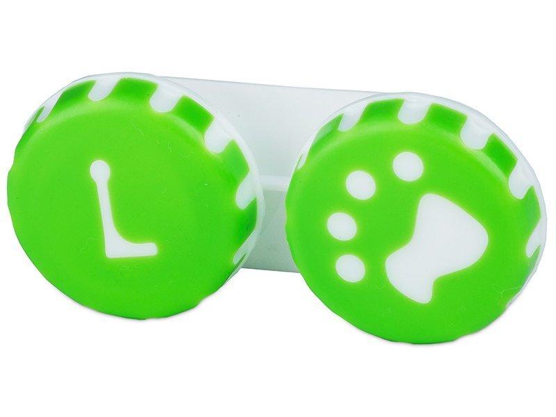 Estuche de lentillas con huella - verde