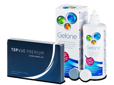 TopVue Premium (6lentillas) +Líquido Gelone 360ml - Pack ahorro