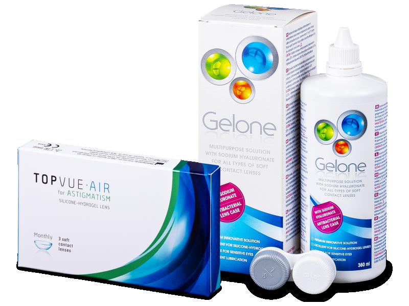 TopVue Air for Astigmatism (3lentillas) + Gelone 360 ml - Pack ahorro