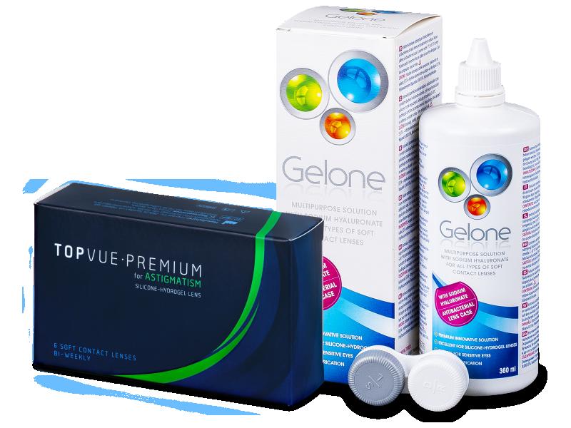 TopVue Premium for Astigmatism (6 lentillas) + Líquido Gelone 360 ml - Pack ahorro