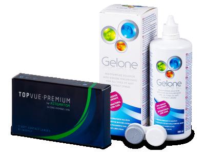 TopVue Premium for Astigmatism (3 lentillas) + Líquido Gelone 360 ml