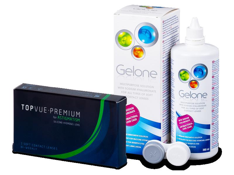TopVue Premium for Astigmatism (3 lentillas) + Líquido Gelone 360 ml - Pack ahorro