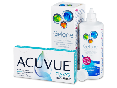 Acuvue Oasys with Transitions (6 lentillas) + líquido Gelone 360 ml