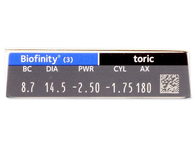 Biofinity Toric (3Lentillas) - Previsualización de atributos