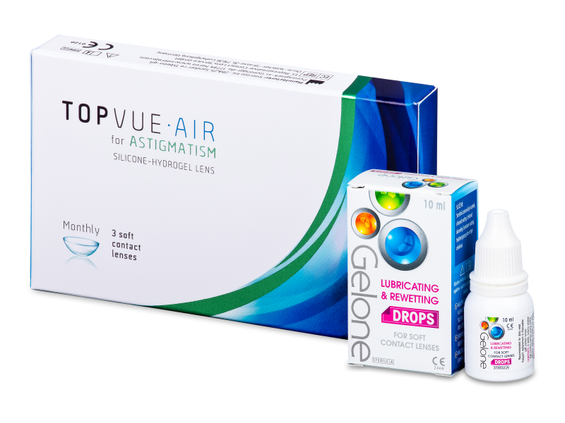 TopVue Air for Astigmatism (3 Lentillas) + Gotas Gelone 10 ml - Pack ahorro