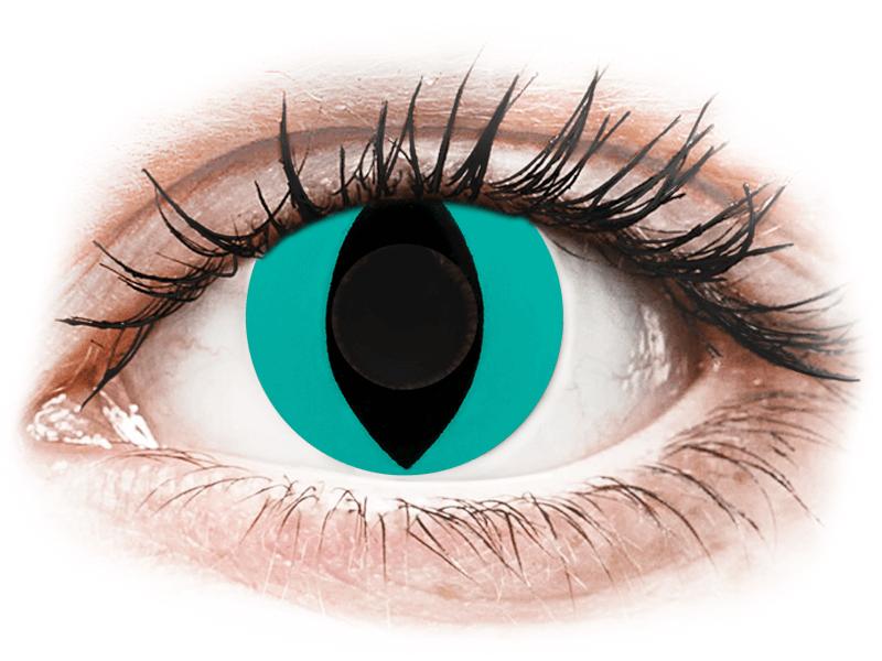 CRAZY LENS - Cat Eye Aqua - Diarias sin graduación (2 Lentillas) - Lentillas de colores