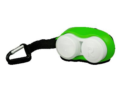 Estuche para lentillas verde con clip